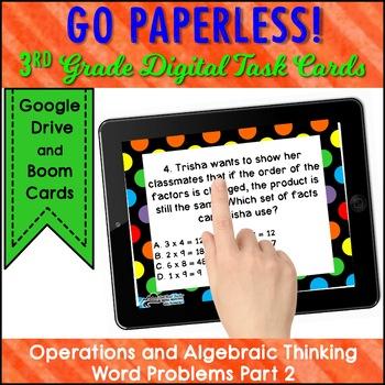 Test Prep Task Cards Google Classroom™ 3rd Grade Operations & Algebraic Thinking