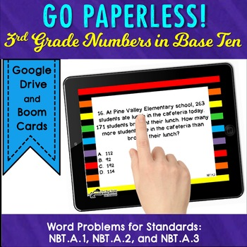 Task Cards 3rd Grade TEST PREP Word Problem Numbers and Operations in Base Ten
