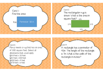Task Cards 4.MD.3 Area & Perimeter
