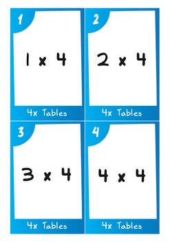 Task Cards - 4 Times Tables (with challenges)