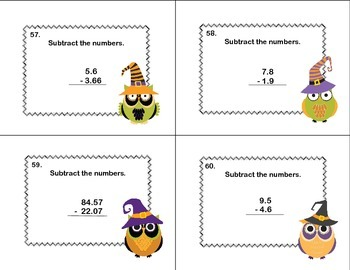 Task Cards- 5th Grade- Subtracting Decimals to Hundredths-Halloween