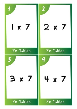 Task Cards - 7 Times Tables (with challenges)