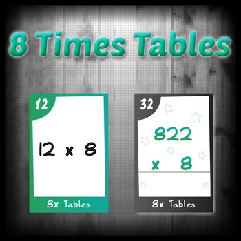 Task Cards - 8 Times Tables (with challenges)