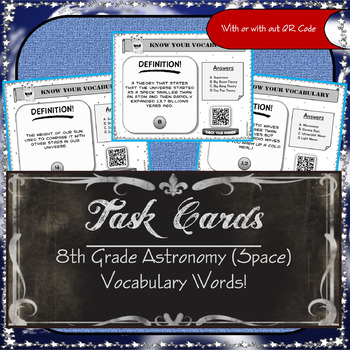 Task Cards - 8th Grade Astronomy ( Space ) Vocabulary Words