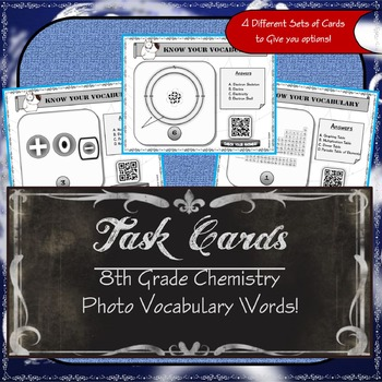 Task Cards - 8th Grade Chemistry Photo Vocabulary Words