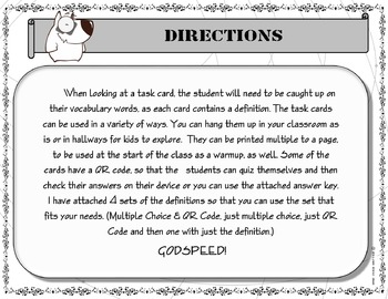 Task Cards - 8th Grade Chemistry Vocabulary Words