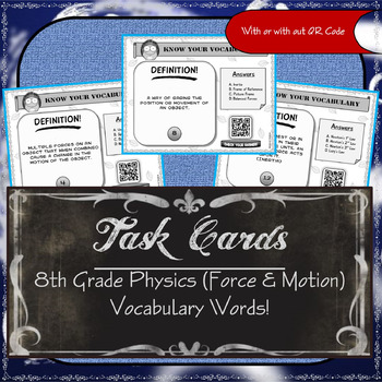 Task Cards - 8th Grade Physics (Force & Motion ) Vocabulary Words