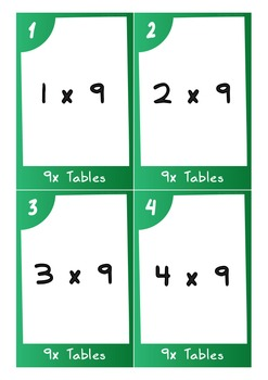 Task Cards - 9 Times Tables (with challenges)