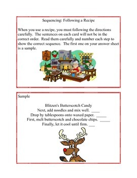 Task Cards- A Sequencing Activity Grades 3-4 Cooking With Christmas Characters