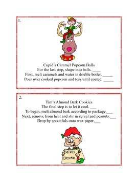 Reading-A Sequencing Activity - 3-4 Cooking With Christmas Characters-Task Cards