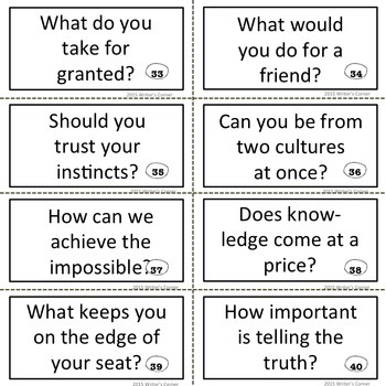 Task Cards, Higher Level Thinking Skills, Writing Fluency, Substitute Plan