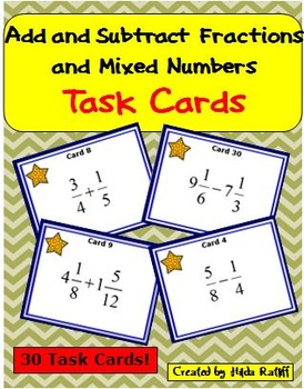 Task Cards - Add and Subtract Fractions and Mixed Numbers