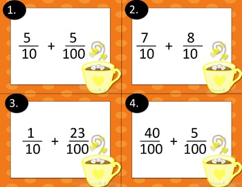 Task Cards: Adding Fractions with Denominators 10 and 100.