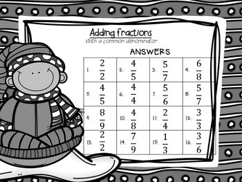 Adding Fractions with Common Denominator Task Cards