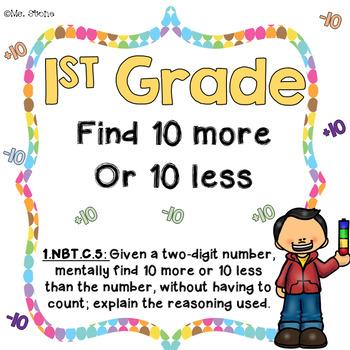 1st Grade Task Cards- Find 10 more or 10 less
