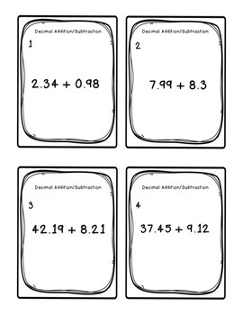 Task Cards: Adding and Subtracting Decimals 5.NBT.7