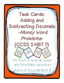 Task Cards: Adding and Subtracting Decimals [Money Word Pr