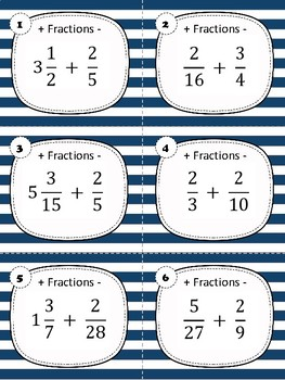 Task Cards - Adding and Subtracting Fractions