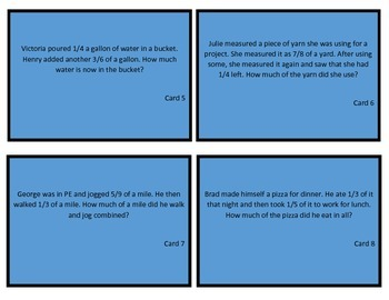 Task Cards: Adding and Subtracting Fractions Unlike Denominators