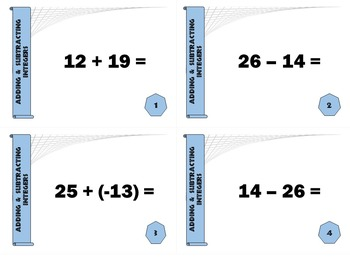 Task Cards BASIC - Adding and Subtracting Integers