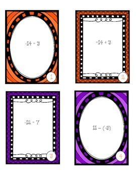 Task Cards - Adding and Subtracting Integers - Halloween Themed