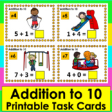 Summer Math: Addition Task Cards: Playground Themed: Addition Facts to 10