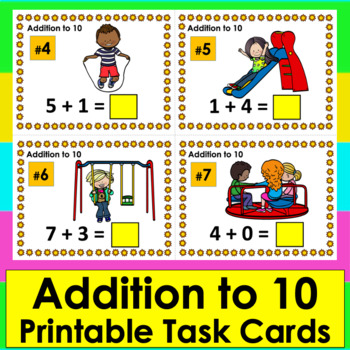 Summer Math: Addition Task Cards: Playground Themed: Addit