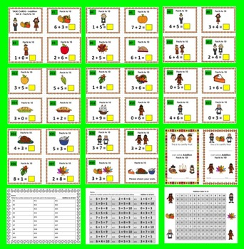 Thanksgiving Task Cards for Addition Facts to 10 for Thanksgiving Math