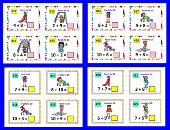 Summer Math: Task Cards Addition Facts from 11-20 - Two Sets - 60 Per Set
