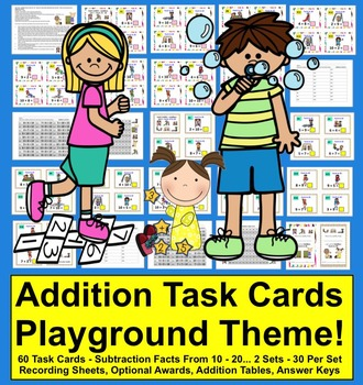 Summer Math: Task Cards Addition Facts from 11-20 - Two Se