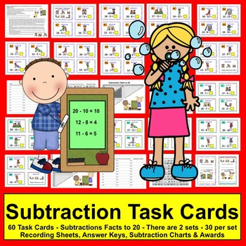 Summer Math: Task Cards-Subtraction Facts from 11 to 20 -