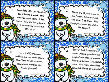 Winter-Themed Addition & Subtraction Word Problems Task Cards