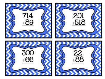 Task Cards- Addition With and Without Regrouping Chevron Theme