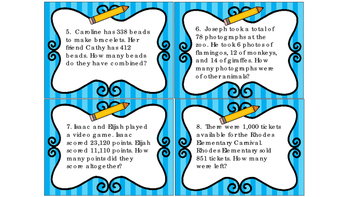 Task Cards Addition and Subtraction Word Problems Set 2