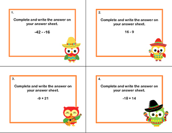 Addition and Subtraction of Integers- Grades 6-7 Cinco de Mayo Theme-Task Cards