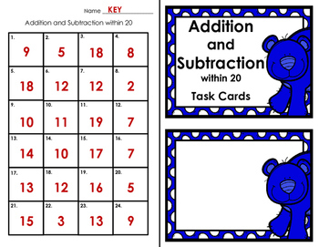 Task Cards - Addition and Subtraction within 20