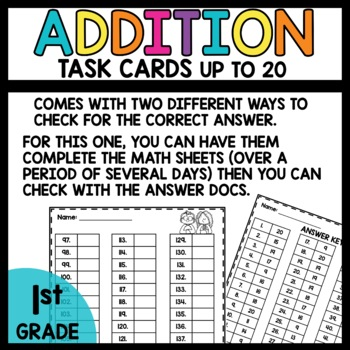 Task Cards (Addition - horizontal and vertical to 20)