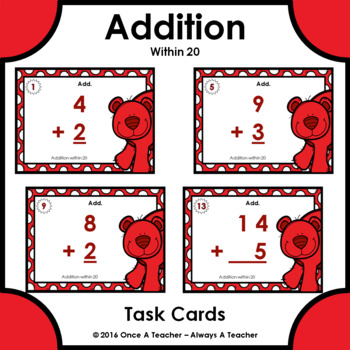 Task Cards - Addition within 20