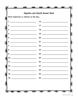 Task Cards:  Adjectives and Adverbs