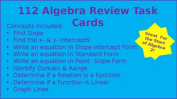 Task Cards: Algebra 1 & 2 Major Concepts Review