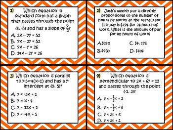 Task Cards - Algebra 1 Equations & Inequalities (RC 3 TEKS)