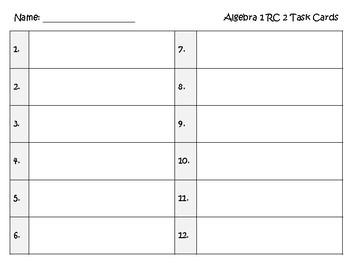 Task Cards - Algebra 1 Slope, Systems, & Scatterplots (RC 2 TEKS)