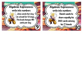 Task Cards: Algebraic Expressions to Numbers