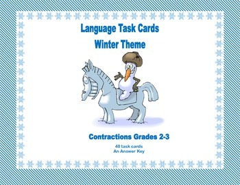 Task Cards All About Contractions Grades 2-3 Winter Theme
