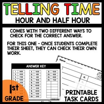 Task Cards (Analog clock hour and half hour)