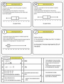 BOX PLOTS - Analyzing BOX PLOTS Task Cards