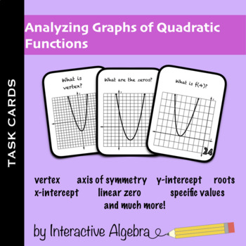Task Cards: Analyzing Graphs of Quadratic Functions