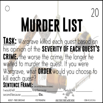 Task Cards - And Then There Were None by Agatha Christie