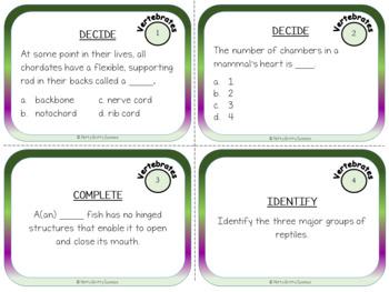 Animal Diversity: Vertebrates - Life Science Task Cards