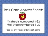 Task Cards Answer Sheets